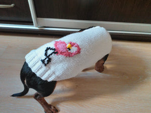 Flamingo knitted sweater for dachshund or small dog, dog clothes knitted Flamingo sweater, Flamingo sweater for dachshund