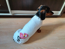 Load image into Gallery viewer, Flamingo knitted sweater for dachshund or small dog, dog clothes knitted Flamingo sweater, Flamingo sweater for dachshund