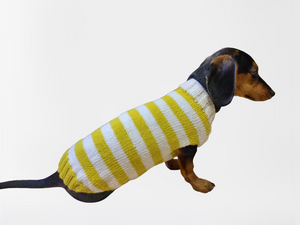Knitted striped dog sweater, dog clothes knitted wool handmade sweater, striped dog jumper