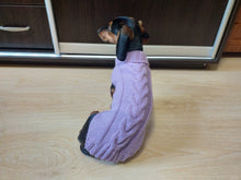 Load image into Gallery viewer, Lilac knitted wool jumper for dog, clothes for dachshund, sweater for dog, clothes for dog, sweater for small dogs, dachshund sweater