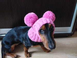 Pink hat for dog with two pompons, hat for dachshund with two pompons