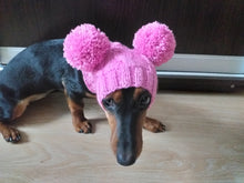 Load image into Gallery viewer, Pink hat for dog with two pompons, hat for dachshund with two pompons
