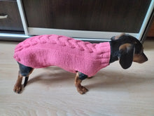 Load image into Gallery viewer, Handmade pink knitted sweater for dog, clothes for dachshund, sweater for dog, clothes for dog, sweater for small dogs, dachshund sweater