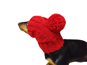 Knitted hat with pom pom for dogs, hat with pom pom for mini dachshund, winter hat with a pompom for a dachshund or small dog