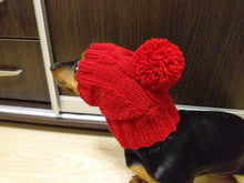 Load image into Gallery viewer, Knitted hat with pom pom for dogs, hat with pom pom for mini dachshund, winter hat with a pompom for a dachshund or small dog