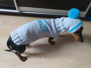 Dachshund Angel Costume Sweater and Hat,knitted dachshund clothes sweater and hat, dachshund suit sweater and hat
