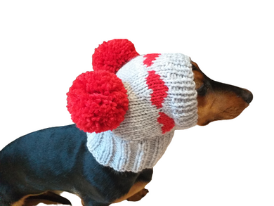 Knitted winter hat with hearts for dog,Dog clothes hat with pompom, dog clothes with hearts valentine's day
