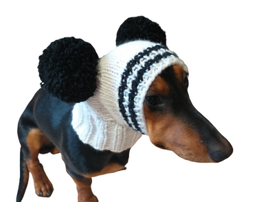 Dachshund hat with two pom-poms dog winter hat,Hat winter clothes for a dog with a pompom