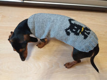 Load image into Gallery viewer, Dog knitted sweater for dachshunds or small dogs, knitted clothes for dogs with a dog