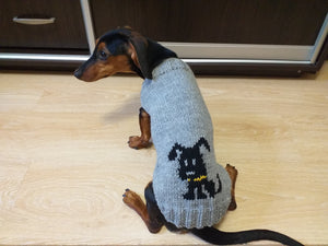 Dog knitted sweater for dachshunds or small dogs, knitted clothes for dogs with a dog