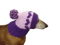 Knitted winter hat with hearts for small dog