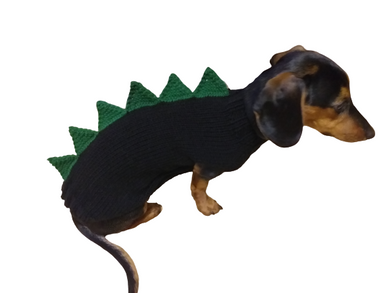 Black dinosaur sweater for dachshund or small dog,Dinosaur sweater for small dog, clothes for dog dinosaur, knitted dinosaur sweater.
