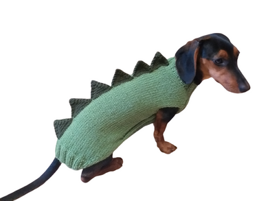 Green dinosaur sweater for dachshund or small dog,Dinosaur sweater for small dog, clothes for dog dinosaur, knitted dinosaur sweater.