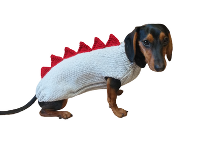 Gray dinosaur sweater for dachshund or small dog,Dinosaur sweater for small dog, clothes for dog dinosaur, knitted dinosaur sweater.