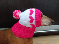 Knitted clothes dog hat with hearts for valentine's day