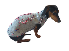Load image into Gallery viewer, Gray Floral Mini Dachshund Jumper, Dog Coat, Clothes Dog Sweater