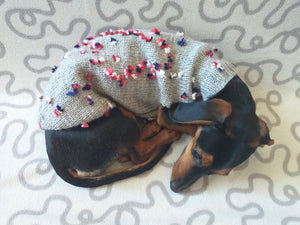 Gray Floral Mini Dachshund Jumper, Dog Coat, Clothes Dog Sweater