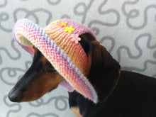 Load image into Gallery viewer, Summer hat for a dog with flowers, summer hat with flowers for a dachshund or small dog