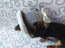 Load image into Gallery viewer, Gray summer hat with bow for dog, summer hat for dachshund or small dog