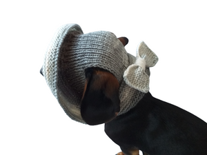 Gray summer hat with bow for dog, summer hat for dachshund or small dog