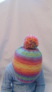 Knitted multi-colored wool hat universal size child, woman, teenager