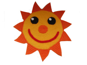 Handmade decorative knitted napkin sun