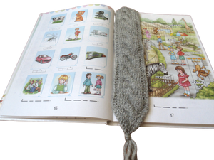 Knitted bookmark for book