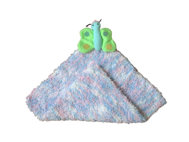 Handmade crocheted towel with butterfly