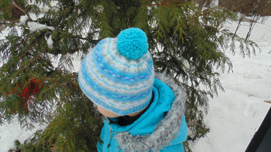 Knitted winter warm hat with pompom universal size child, woman, teenager