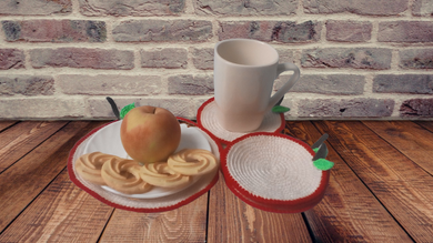 Set of knitted napkins Apple