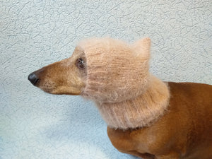 Angora hat warm winter for dog - dachshundknit