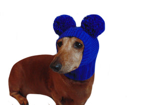 Blue hat with two pom poms for dog - dachshundknit