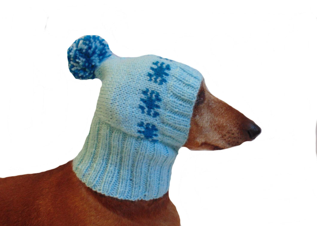 Blue knitted hat with snowflakes Christmas for small dog or cat - dachshundknit