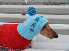Load image into Gallery viewer, Blue knitted hat with snowflakes Christmas for small dog or cat - dachshundknit