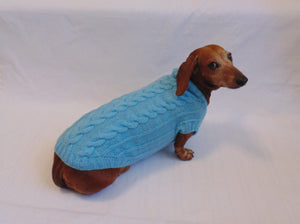 Blue knitted sweater for small dog, clothes for dachshunds, sweater for dogs, clothes for dog - dachshundknit