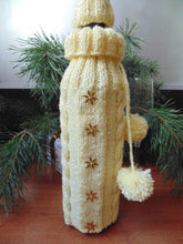 Load image into Gallery viewer, Bottle Decor Santa Christmas Sweater with Hat, Wine Accessories - dachshundknit