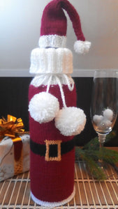 Bottle Decor Santa Christmas Sweater with Hat, Wine Accessories, Knit Bottle, Wine Decor, Bottle Sweater, Gift Wine Bottle, Wine Cabinet - dachshundknit