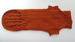 Brown knitted sweater for dachshund dog - dachshundknit