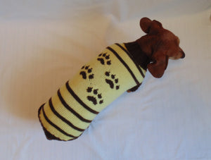 Cardigan with footprints for small dachshund - dachshundknit