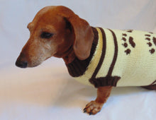 Load image into Gallery viewer, Cardigan with footprints for small dachshund - dachshundknit