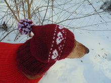 Load image into Gallery viewer, Cherry hat with hearts for small dachshund dog - dachshundknit
