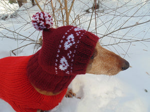 Cherry hat with hearts for small dachshund dog - dachshundknit