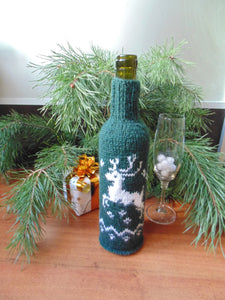 Christmas bottle cover, Christmas bottle decoration, Christmas present, New Year gift, Christmas table, Bottle decoration - dachshundknit