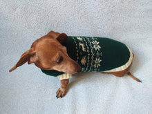 Load image into Gallery viewer, Christmas dog sweater with deer and snowflakes - dachshundknit