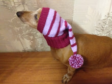 Load image into Gallery viewer, Christmas hat for dog, Santa hat for dog, hat for dog, hat for small dog, hat for dachshund, doxie clothes, doxie hat - dachshundknit