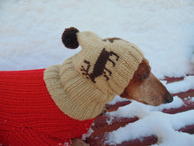 Load image into Gallery viewer, Christmas hat with deer for dog with pompom - dachshundknit