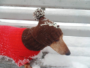Christmas knitted hat with deer for dachshund dog and cat - dachshundknit