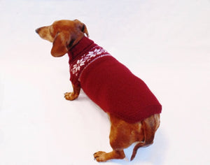 Christmas knitted sweater with snowflakes for a dog, clothes for dachshund - dachshundknit