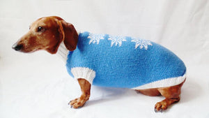 Christmas knitted sweater with snowflakes for dog - dachshundknit