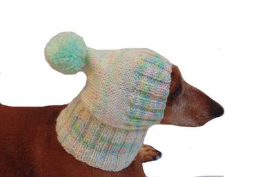 Clothes for dogs handmade knitted hat with pompon - dachshundknit
